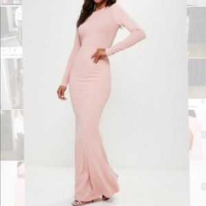 Missguided long sleeve open back pink maxi
